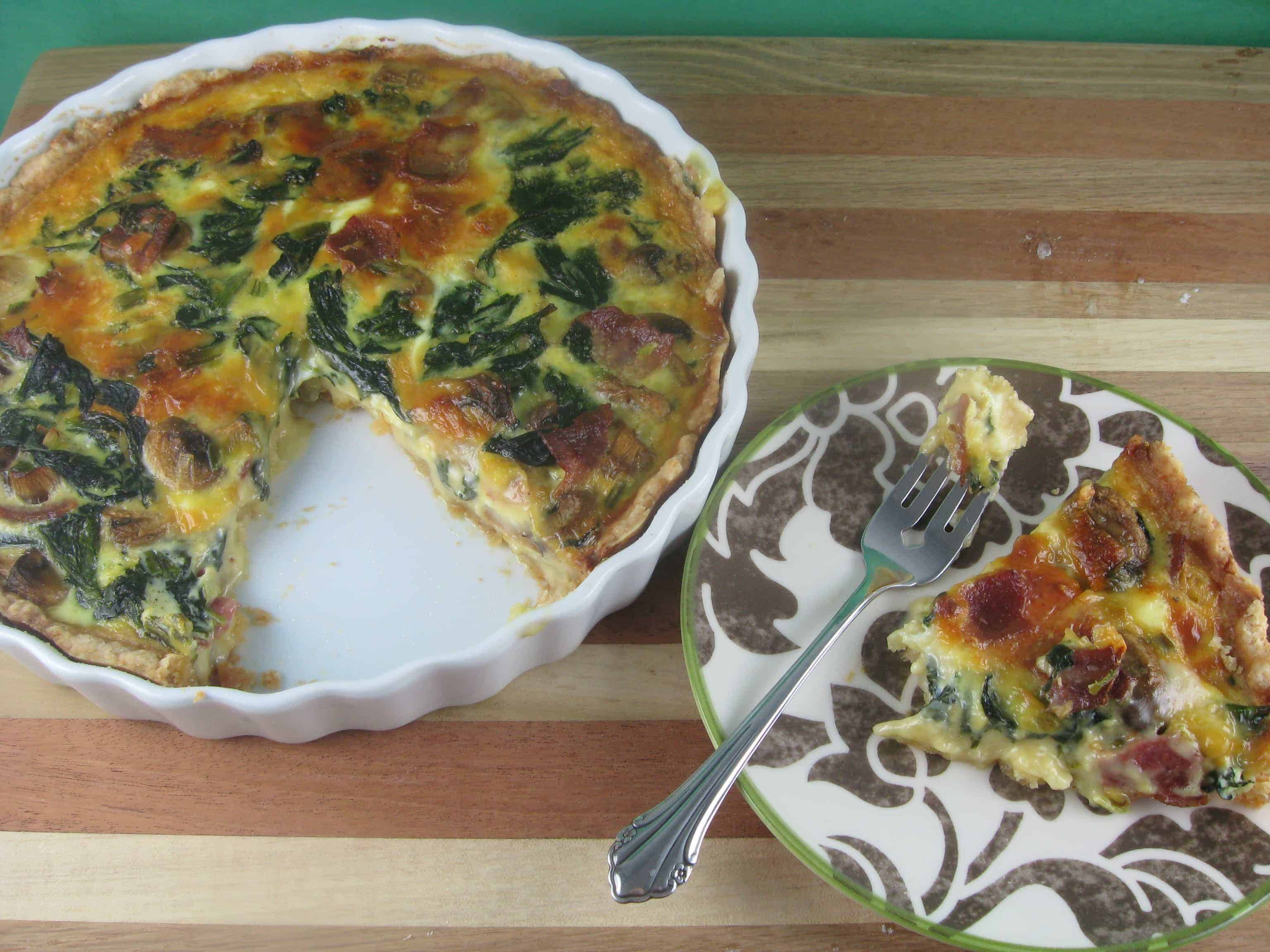 Spinach, Bacon, Mushroom and Gouda Quiche
