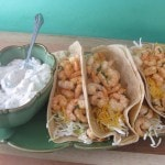 shrimp tacos on tray