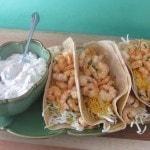 shrimp tacos on tray