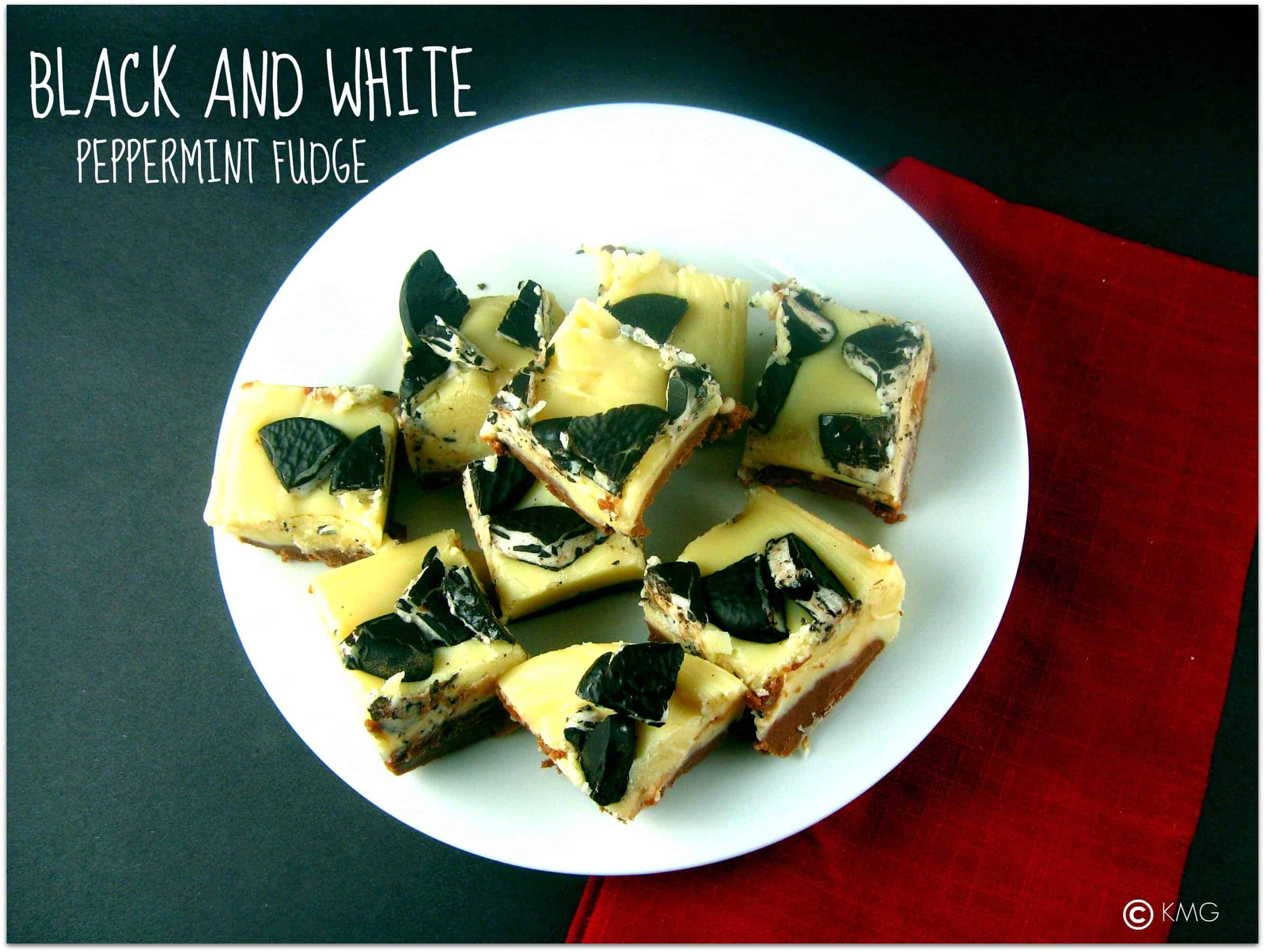 Black and White Peppermint Fudge