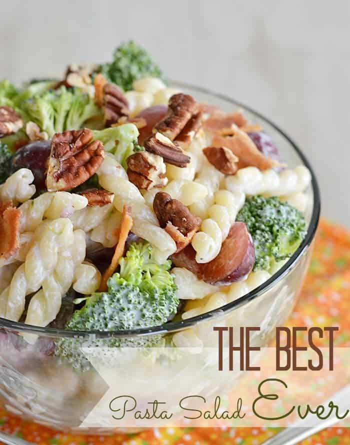 With bacon and toasted pecans, Greek yogurt and red wine vinegar, this pasta salad has just the right balance of flavors. So easy and so good! #recipe #pasta