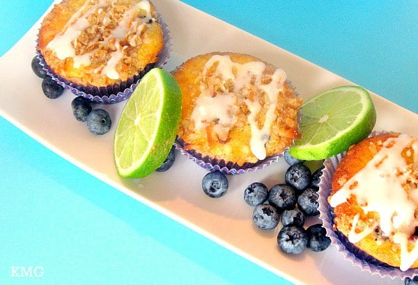 Blueberry Muffins with Coconut Lime Glaze