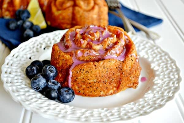 Lemon Poppyseed Muffins {with Blueberry Glaze}