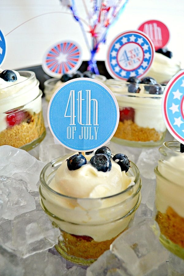 Red, White Chocolate, and Blue Pie in a Jar