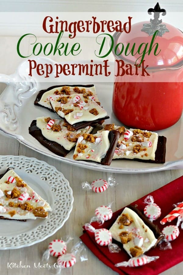 Gingerbread Cookie Dough Peppermint Bark