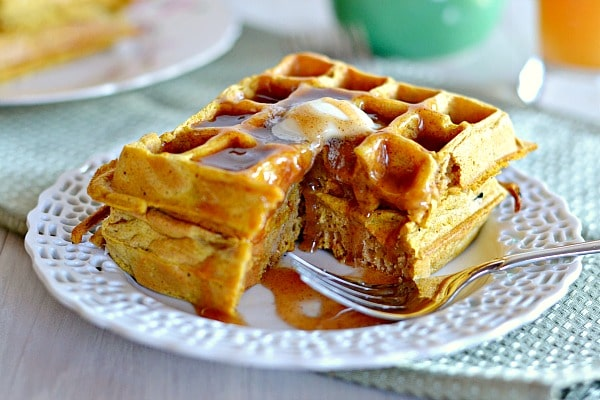 Pumpkin Waffles with Apple Cider Syrup - Kitchen Meets Girl