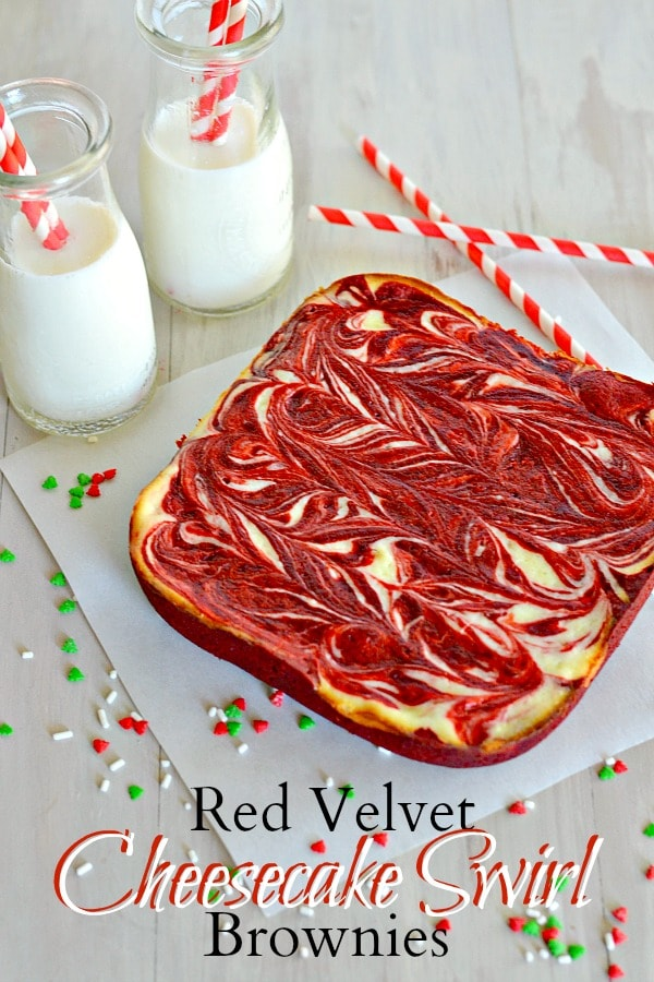 Red Velvet Cheesecake Swirl Brownies from Kitchen Meets Girl