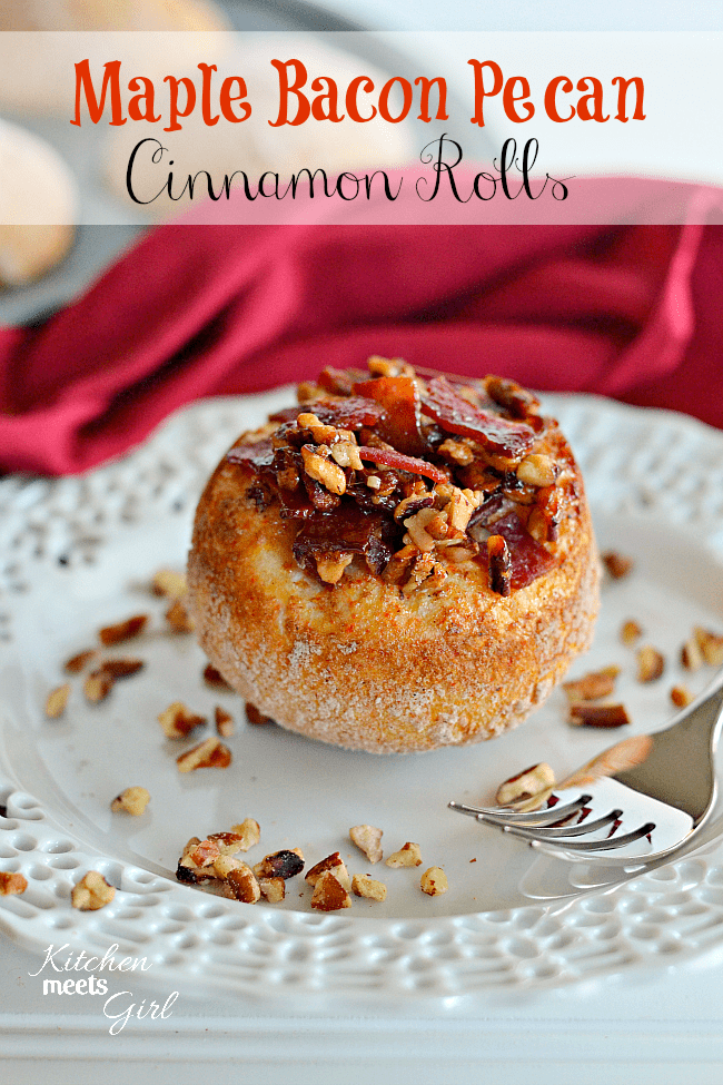 Maple Bacon Pecan Cinnamon Rolls--no kneading, just eating! #recipe #breakfast