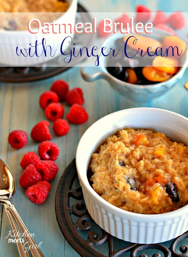 Oatmeal Brulee with Ginger Cream #breakfast #recipe
