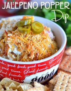 Jalapeno Popper dip - perfect for snacking or entertaining!  #recipe #dip #gamedayfood www.kitchenmeetsgirl.com
