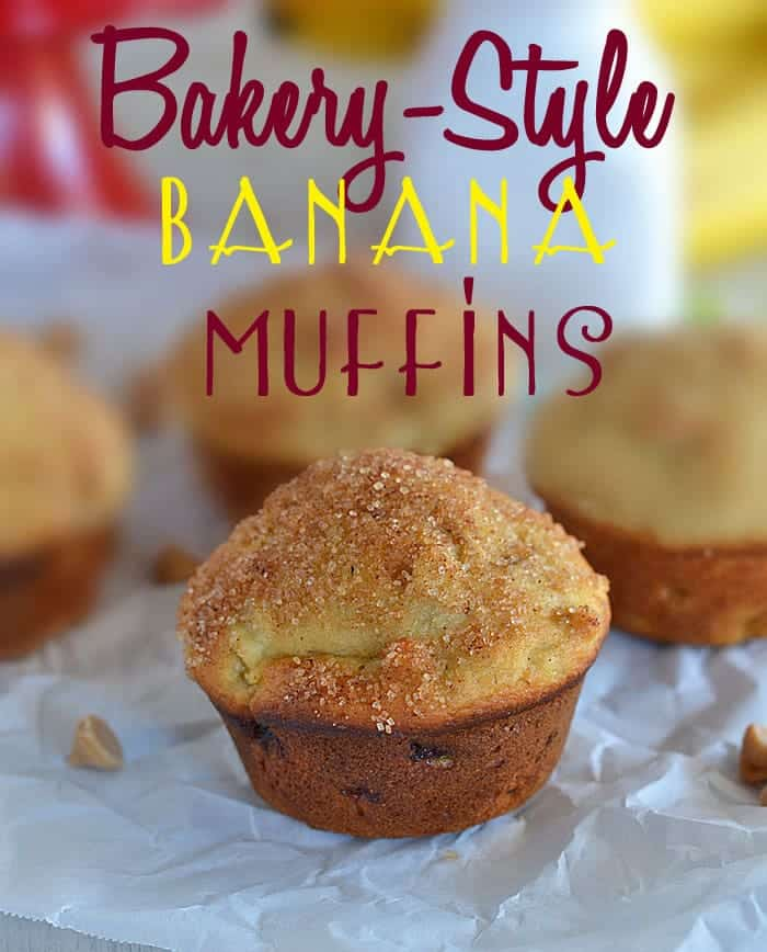 Bakery-Style Banana Muffins - a simple, easy trick to create bakery style muffins at home! #recipes #muffins www.kitchenmeetsgirl.com