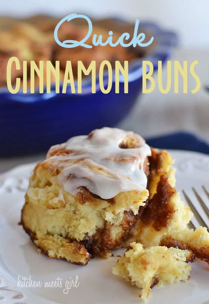 These quick cinnamon rolls go from kitchen to table in 45 minutes--no yeast required! Don't wait for a special occasion--dripping with a lovely buttermilk icing and filled with layer upon layer of cinnamon and cloves, this roll is a sweet treat you'll definitely want on your weekend rotation! #recipe #breakfast from @KitchenMeetsGir www.kitchenmeetsgirl.com