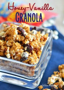 Honey-Vanilla Granola with blueberries and white chocolate from www.kitchenmeetsgirl.com--a perfect topping for yogurt, cereal, or just eating straight out of the bowl!  #recipes #granola