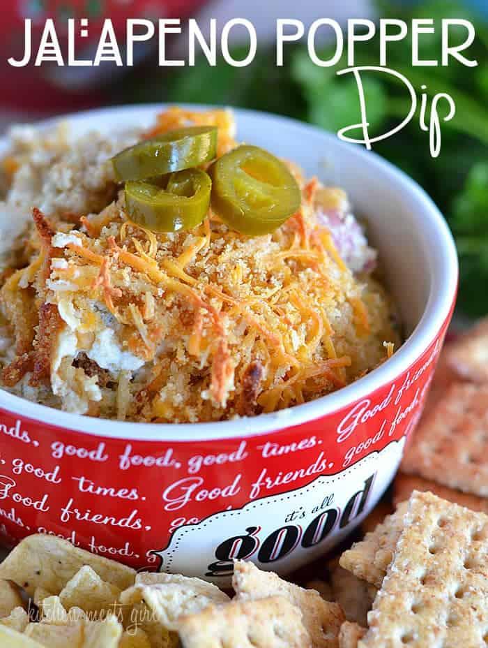 Jalapeno Popper dip - perfect for snacking or entertaining! #recipe #dip #gamedayfood www.kitchenmeetsgirl.