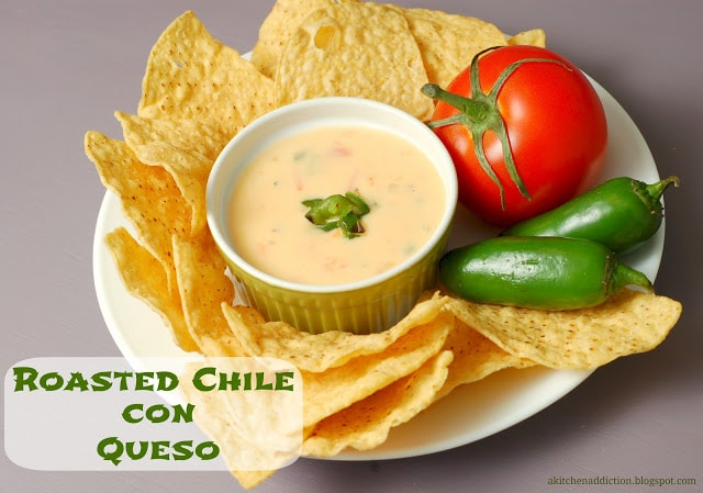 roasted chile con queso w words