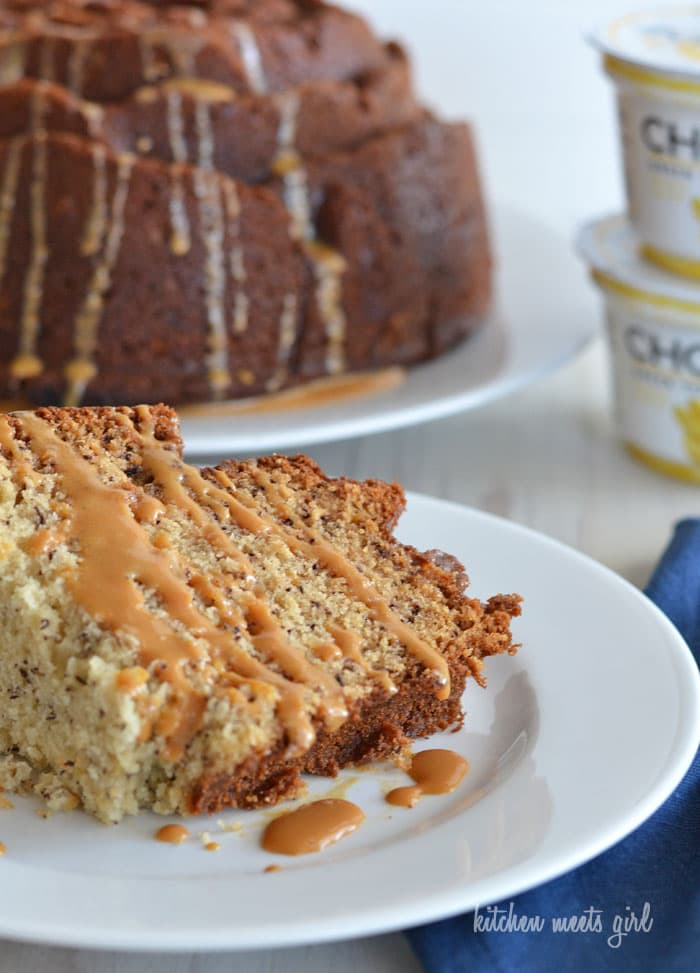 The Best Banana Bundt Cake - use #Chobani banana yogurt in place of the sour cream to give this recipe extra flavor! You're going to love it! #recipe #banana bread