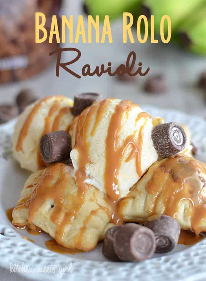 These fun Banana Rolo Ravioli take just five ingredients and are a fun treat for little hands to help put together! #recipe #caramel #chocolate