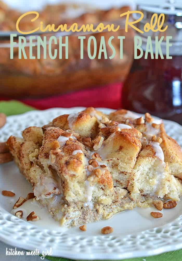 Cinnamon Roll French Toast Bake at kitchenmeetsgirl.com - made with Pillsbury Cinnabon cinnamon rolls, this special breakfast dish comes together in a flash!  #recipes #breakfast