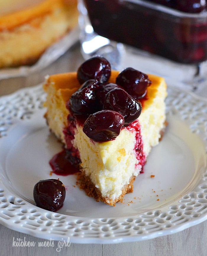 Perfectly light and creamy cherry cheesecake - you'll never guess the secret ingredient in this recipe!  #recipe #dessert #cheesecake