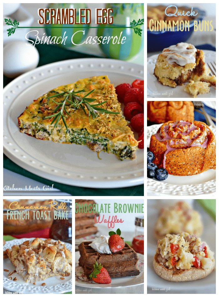 20 Easter Brunch Recipes from www.kitchenmeetsgirl.com - from egg casseroles to cinnamons rolls, to donuts and bread, it's all here! #recipes #Easter