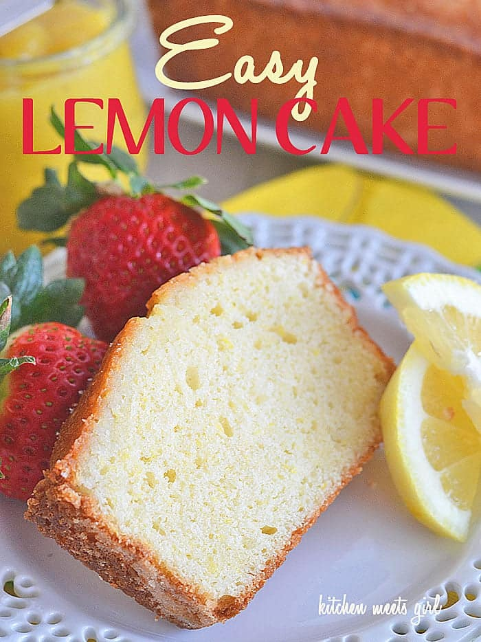 Easy Lemon Cake from www.kitchenmeetsgirl.com - this cake mixes up in a flash, and the full, crisp lemon flavor just screams spring! #recipe #cake #lemon