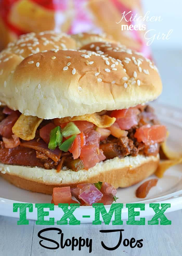 Tex-Mex Sloppy Joes at www.kitchenmeetsgirl.com - if you like bacon, jalapenos, and the smoky flavors of chili powder, cumin and coriander, this version is for you! #recipes #dinner
