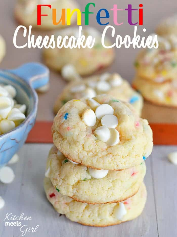 Funfetti Cheesecake Cookies from www.kitchenmeetsgirl.com - using pudding mix makes these cookies so soft and fluffy you won't be able to stop eating them! #recipes #cookies