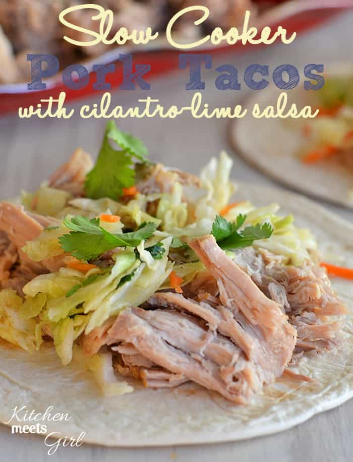 Slow Cooker Pork Tacos with Cilantro-Lime Salsa - start these before work and come home to have dinner ready and waiting!