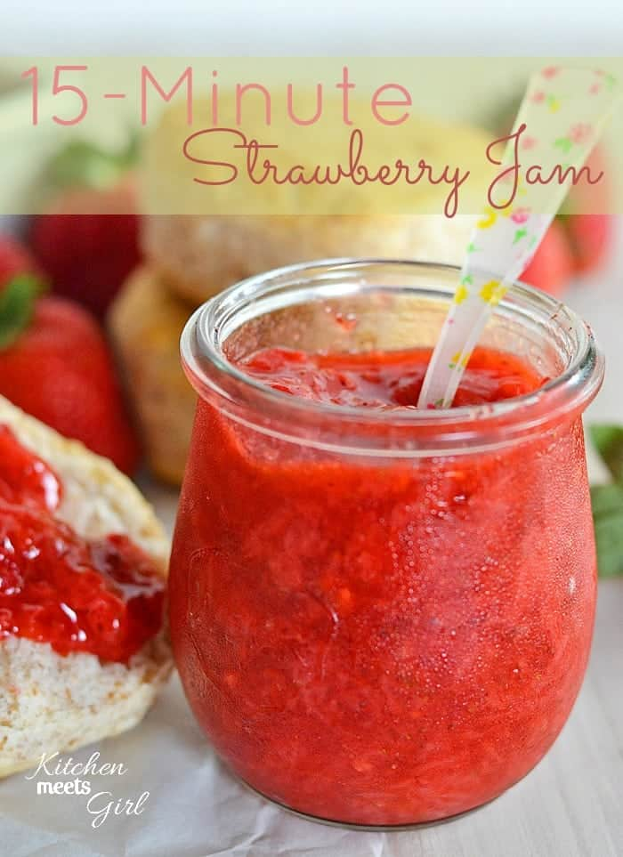 Use your fresh summer berries to make this quick and easy 15-minute strawberry jam! #recipe #strawberries