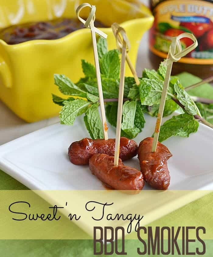 Make your own sweet 'n tangy BBQ sauce for little smokies or meatballs - using apple butter!  Use the remaining sauce for grilling or adding into ground beef for kicked up sloppy joes! #applebutterrecipes #BBQ #entertaining