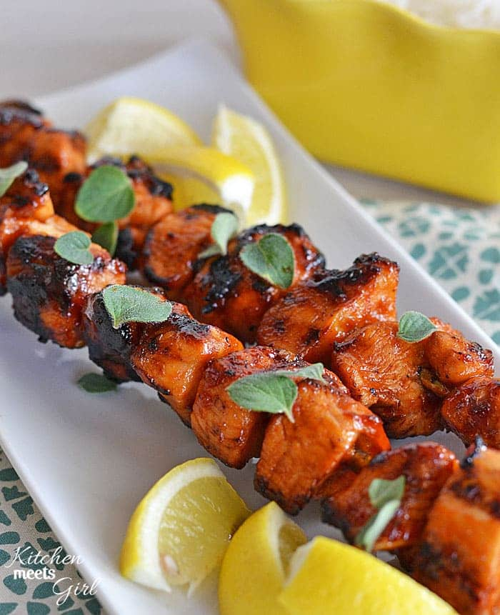 If you grill one thing this summer, grill these Sriracha-Glazed Chicken Skewers from www.kitchenmeetsgirl.com #recipe #grilling #chicken #sriracha