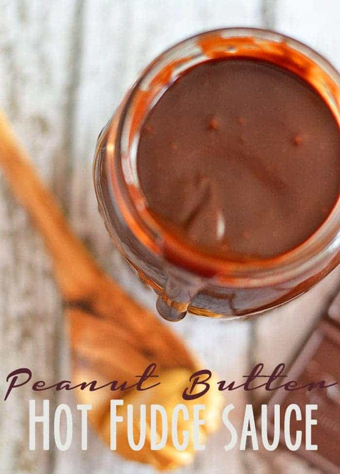 This peanut butter hot fudge sauce comes together in 15 minutes and is so much better than the stuff you buy at your grocery store! #recipes #fudge #peanut butter