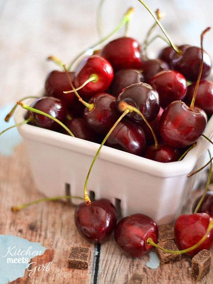 Black Cherry Fudge Ripple Ice Cream - no ice cream maker needed! www.kitchenmeetsgirl.com #recipe #ice cream