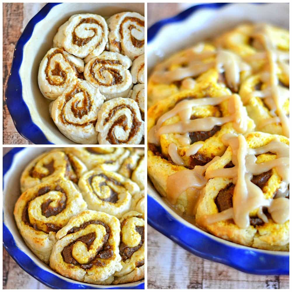 These pumpkin pie cinnamon buns go from kitchen to table in 45 minutes. Stuffed with pumpkin pie filling and drizzled with caramel icing, they'll be a hit at your fall table! #recipes #cinnamon rolls #pumpkin