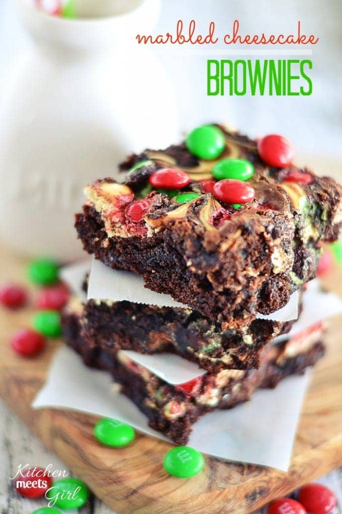 Take your brownies over the top with a swirl of cheesecake and a sprinkling of red and green M&Ms® Brand Chocolate Candies.