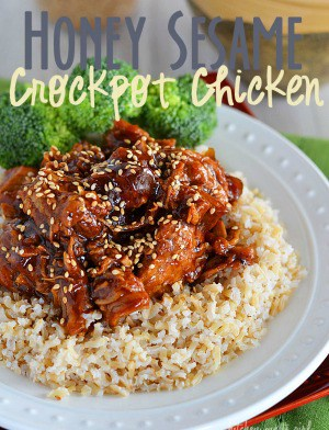 Honey Sesame Crock Pot Chicken - even take-out can't beat the 10-minute prep time of this flavorful, family-friendly meal!