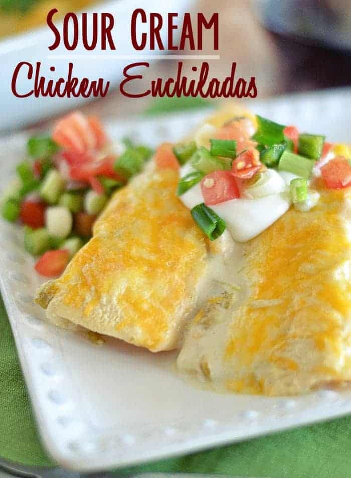 These Sour Cream Chicken Enchiladas are a breeze to make, and don't require canned cream of anything. What do they require? Lots of cheese, and I'm 100% down with that.