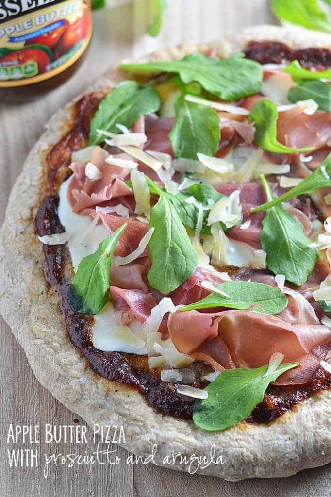 The slight sweetness of apple butter combines perfectly with the saltiness of prosciutto in this Apple Butter Pizza with Prosciutto and Arugula. It's our new favorite for pizza night!