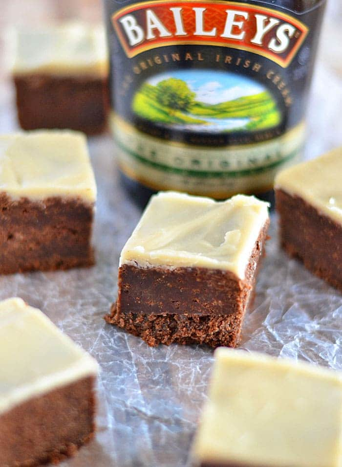 Irish Cream is incorporated into the batter in these Irish Cream Brownies with Brown Butter Icing. It's also brushed on top of the warm brownies right out of the oven. Finally, it's incorporated into the brown butter icing that is spread on top.