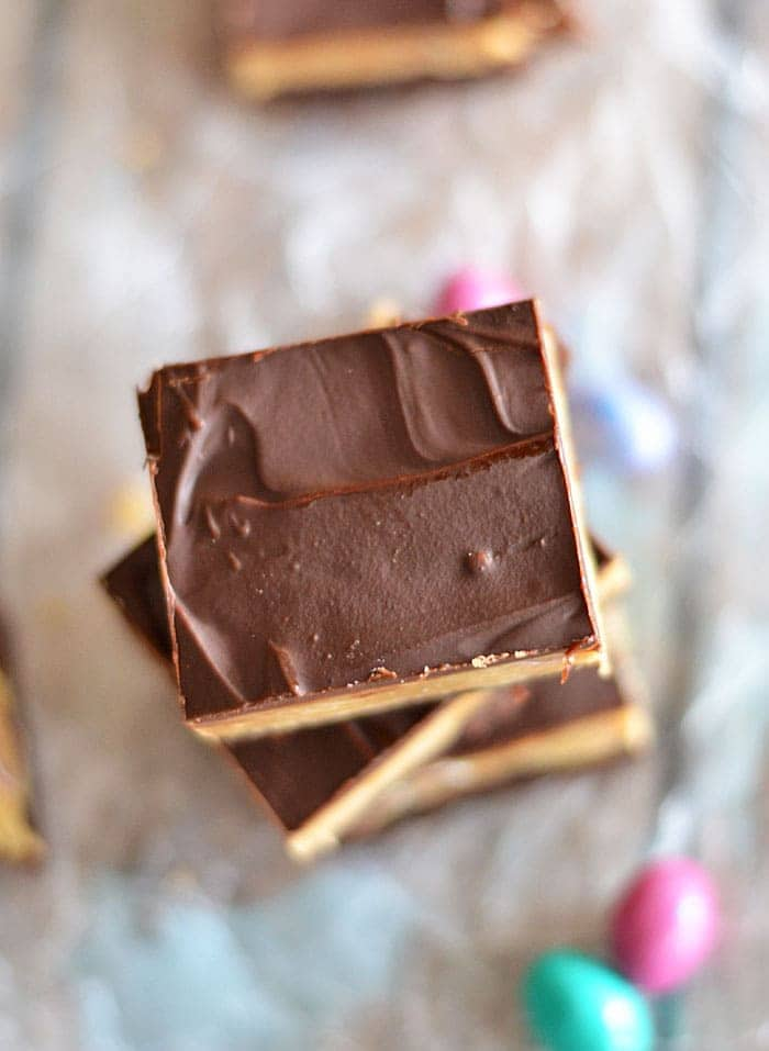 These Peanut Butter Cookie Dough Brownies are the perfect combination of salty and sweet. And the peanut butter cookie dough contains no egg, so it's safe to eat right out of the bowl!