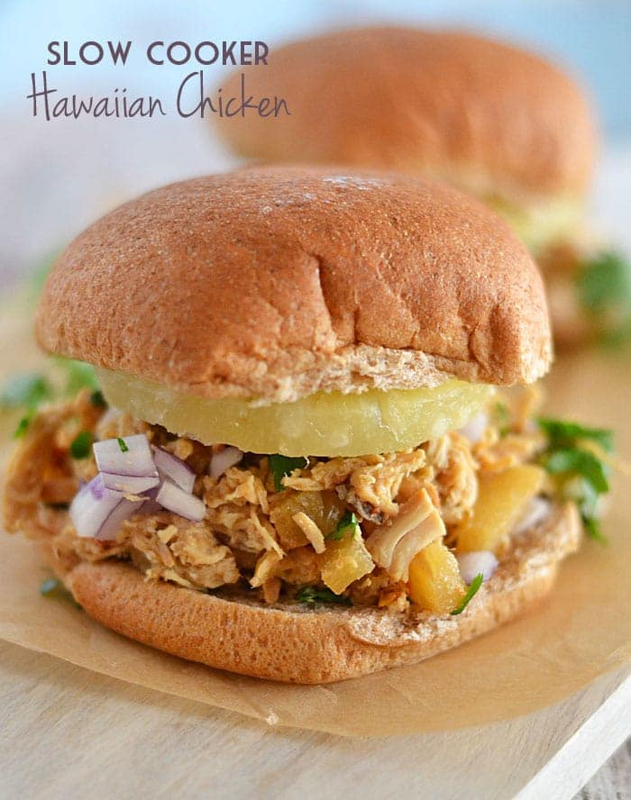 This Slow Cooker Hawaiian Chicken is the perfect combination of salty and sweet and is sure to please even the pickiest of eaters!