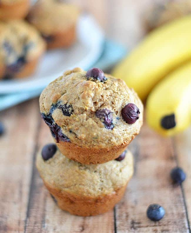 Made with whole wheat flour and packed full of fruit, these Blueberry Banana Muffins are the perfect breakfast for mornings on the go!