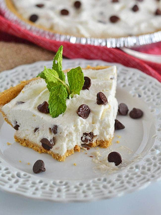 This Chocolate Chip Fluff Pie is perfect for easy summer entertaining - with cream, marshmallows, and chocolate chips, you can't go wrong!