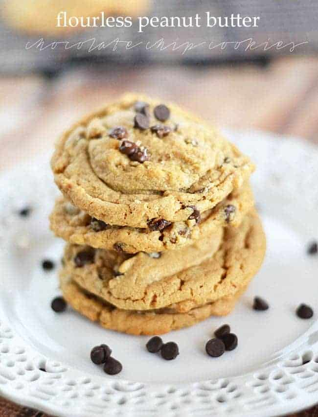 You probably already have all of the ingredients on hand to make these Flourless Peanut Butter Chocolate Chip Cookies. With just a few simple ingredients, you'll never miss the flour - or butter - in these easy to make cookies.