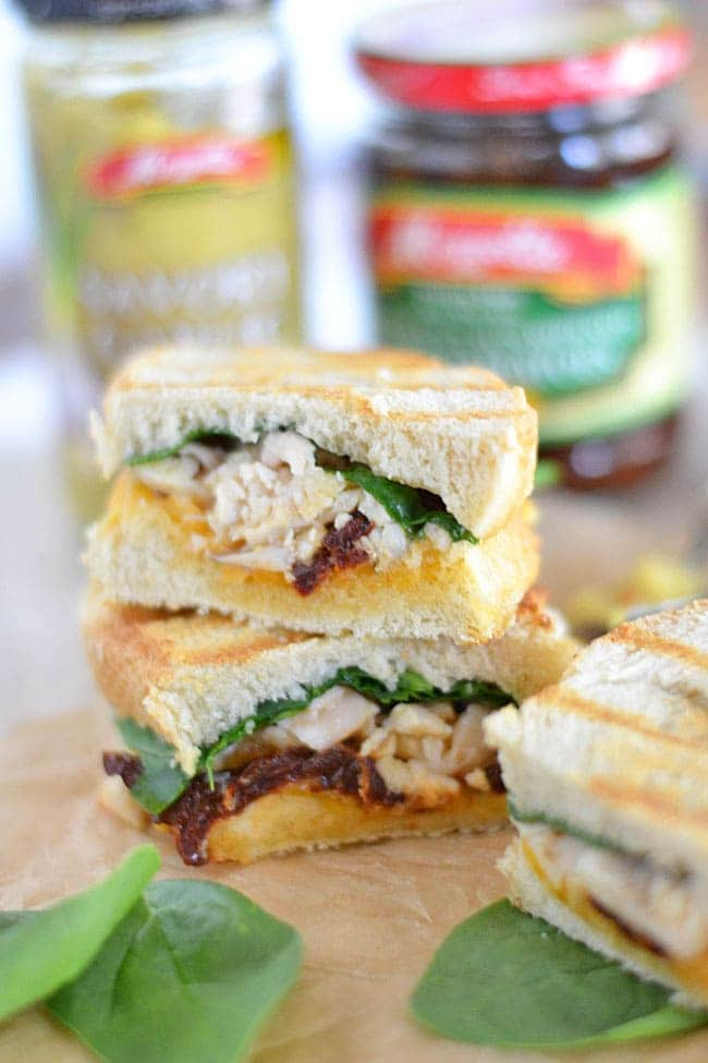 Meet our new favorite weeknight sandwich: this Savory Garlic and Cheddar Chicken Panini. It's ready in just minutes, and uses some of my favorite Mezzetta products!