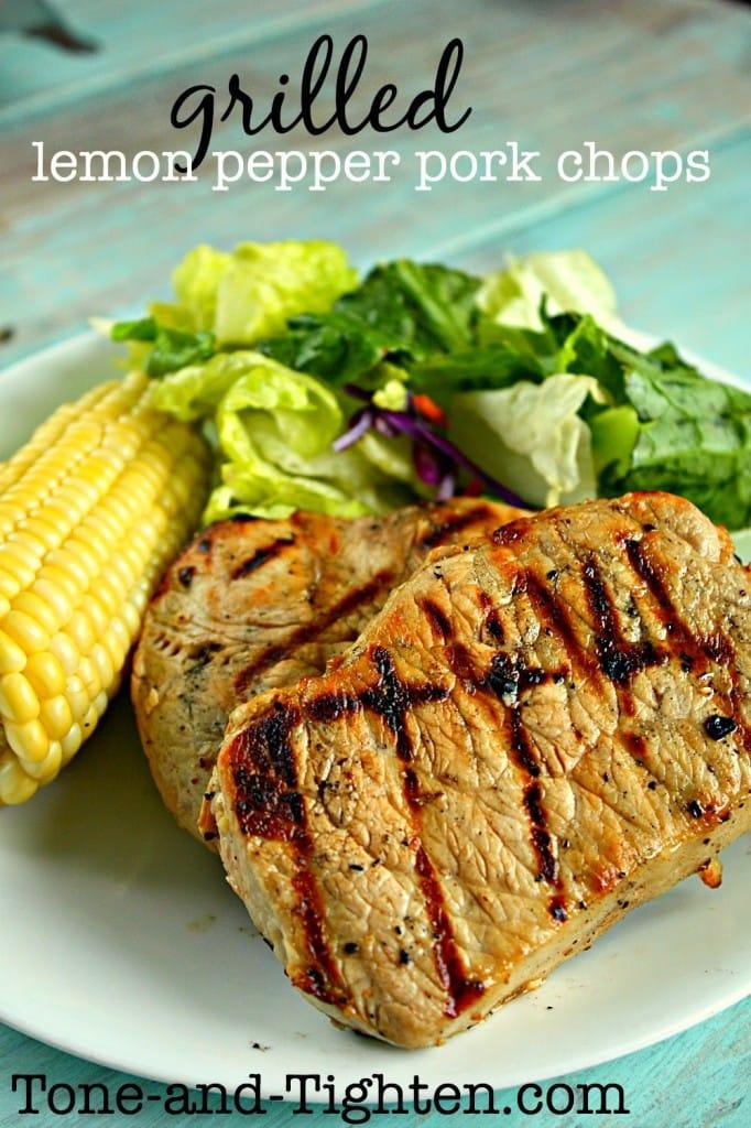 grilled lemon pepper pork chops recipe tone and tighten
