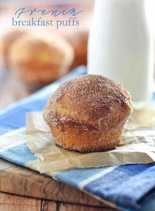 Try these French Breakfast Puffs for your next special breakfast occasion! Tender, fluffy, and rolled in cinnamon-sugar, these little donut-like muffins will be your new favorite breakfast treat.
