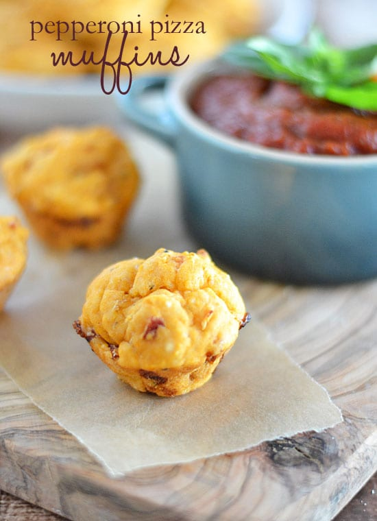 These little Pepperoni Pizza Muffins are packed with pepperoni and cheese, and are the perfect lunch box food or after school snack!