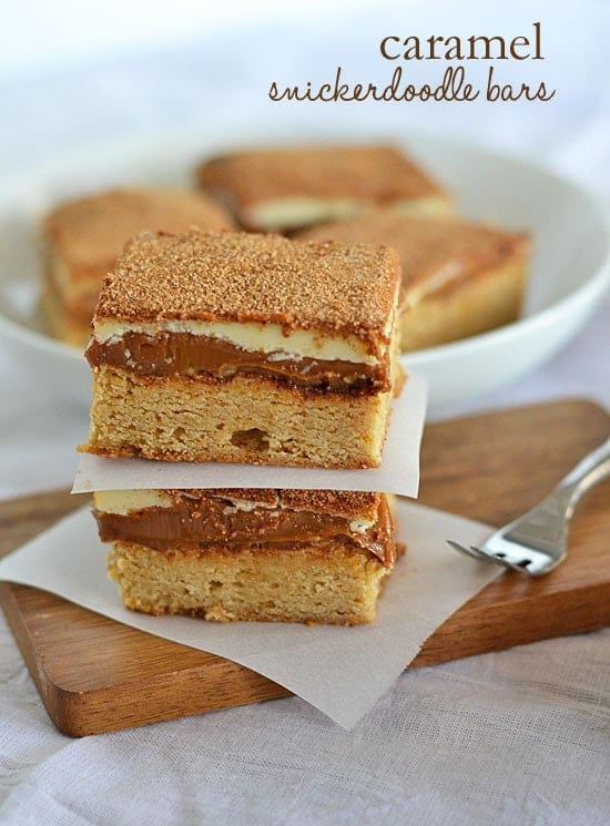 With a thick layer of caramel sandwiched between a snickerdoodle and white chocolate, these Caramel Snickerdoodle Bars are no friend of skinny jeans. But oh my goodness, how they're worth it.