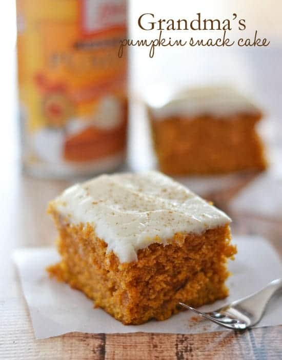 Pumpkin Snack Cake Cream Cheese Frosting